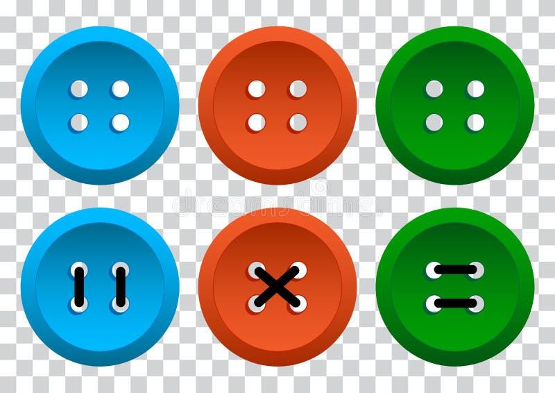 Покрашенный набор круглых кнопок одежды с потоком r бесплатная иллюстрация