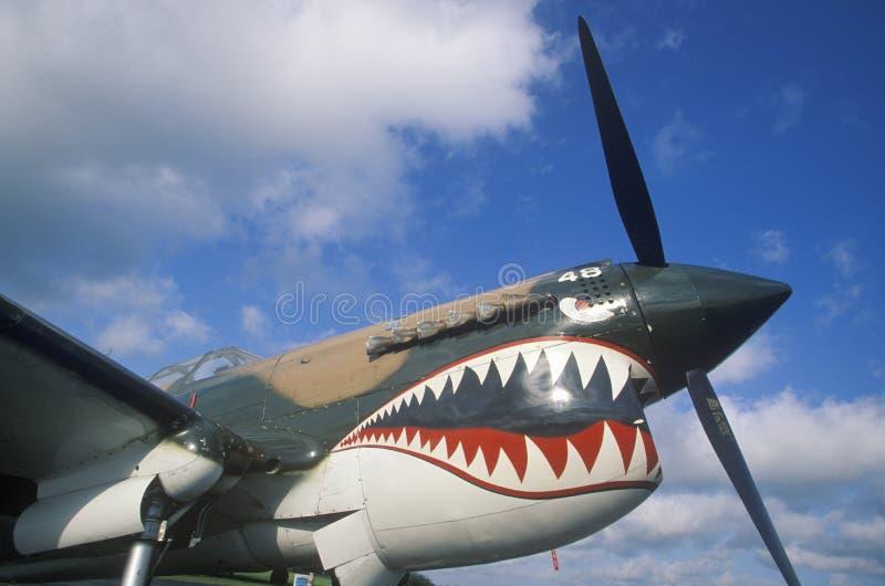Покрашенный нос античного самолета в Burnet, Техасе стоковые фотографии rf