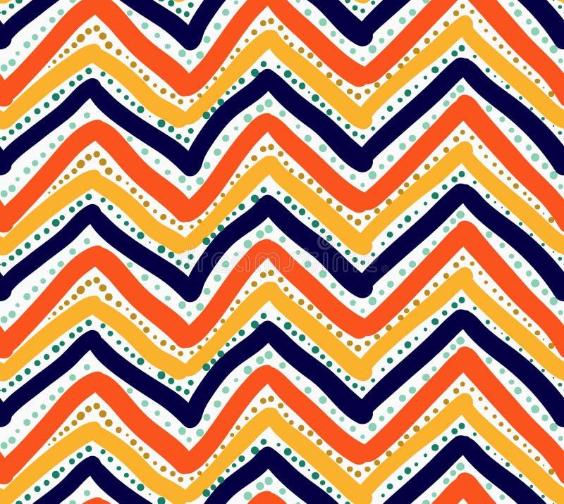 Покрашенный оранжевого шеврон красного цвета и сини с точками иллюстрация штока