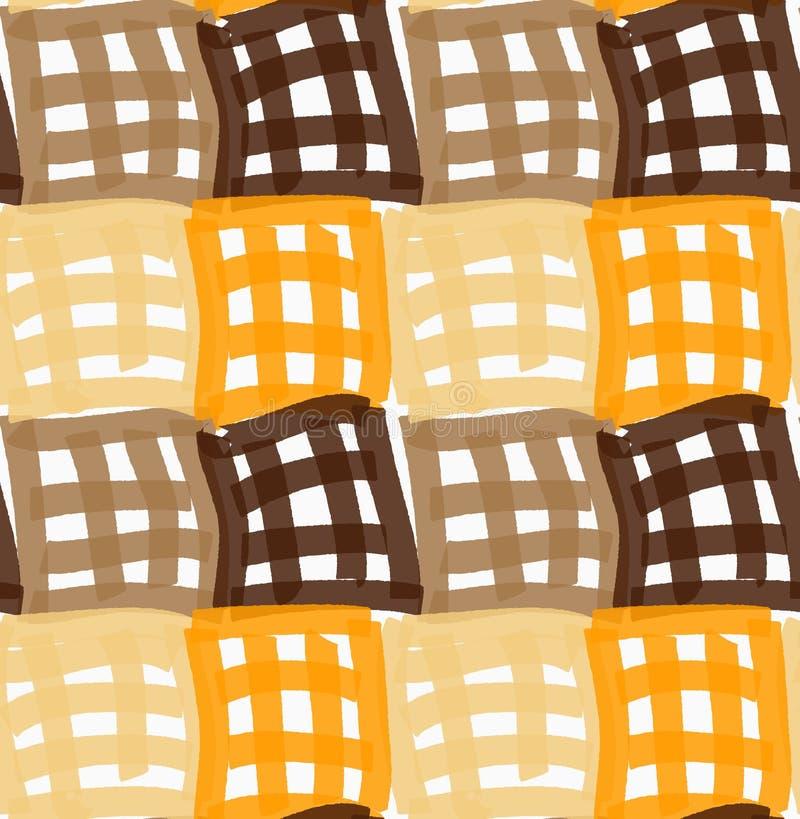 Покрашенный оранжевые и коричневые checkered квадраты отметки иллюстрация штока