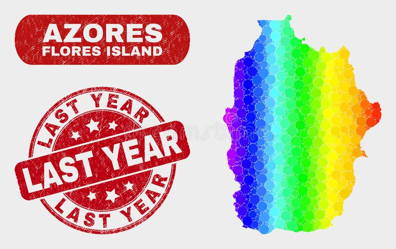 Покрашенный остров Flores мозаики карты Азорских островов и водяного знака Grunge в прошлом году бесплатная иллюстрация
