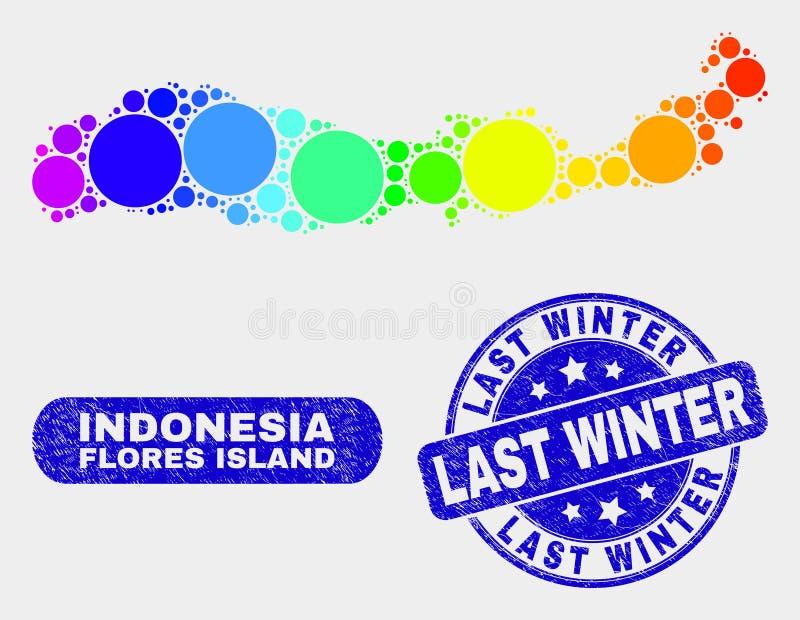 Покрашенный остров Flores мозаики карты Индонезии и Grunge прошлой зимой герметизируют иллюстрация штока