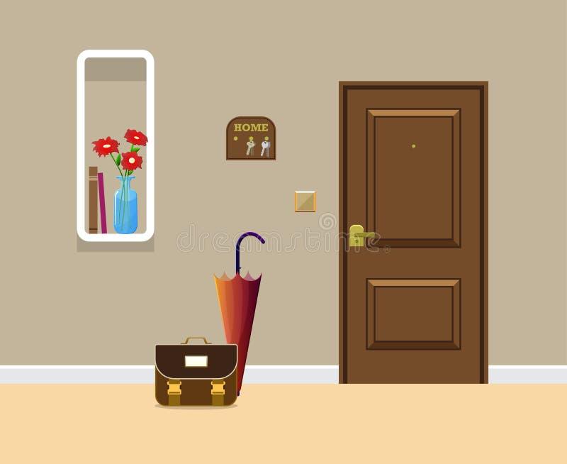 Покрашенный плоский дизайн вектора с тенью Входная дверь с книжными полками прямоугольника, зонтиком иллюстрация вектора