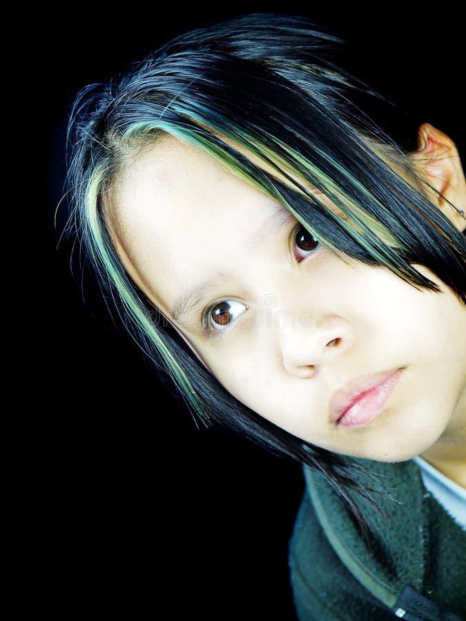 покрашенный подросток волос стоковое изображение rf
