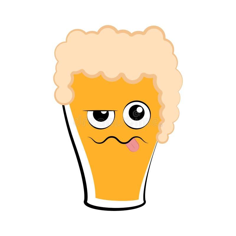 Покрашенный пьяный значок стекла пива бесплатная иллюстрация