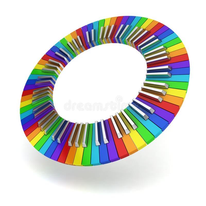 Покрашенный радугой круг клавиатуры рояля иллюстрация вектора