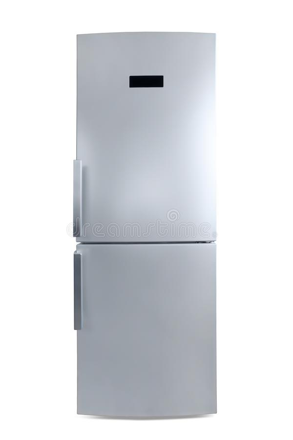 Покрашенный серебр закрыл вид спереди холодильника изолированное с закреплять p стоковое изображение