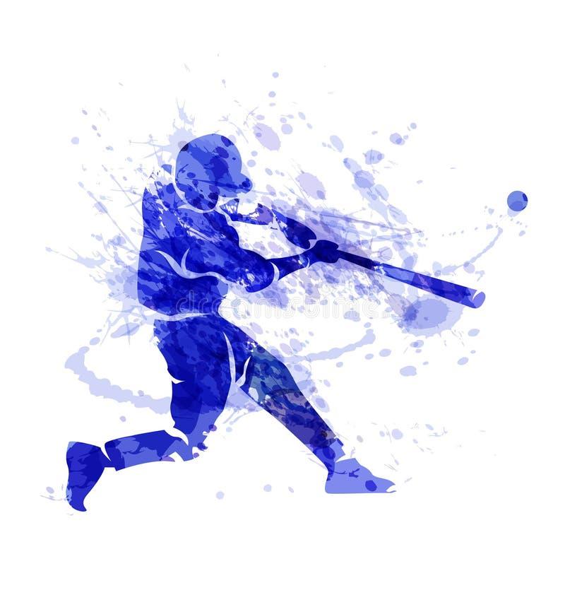 Покрашенный силуэт вектора бейсболиста иллюстрация штока