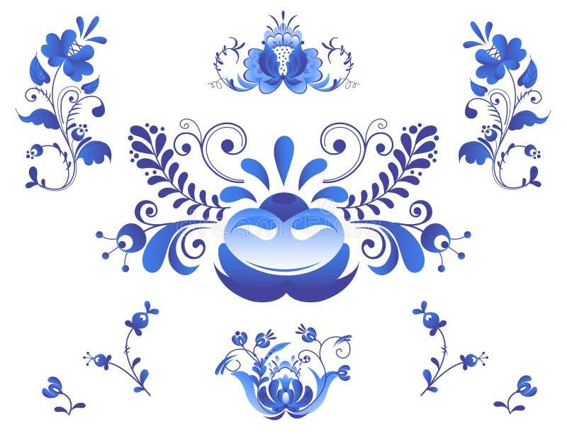 Покрашенный стиль gzhel искусства орнаментов русского иллюстрация штока
