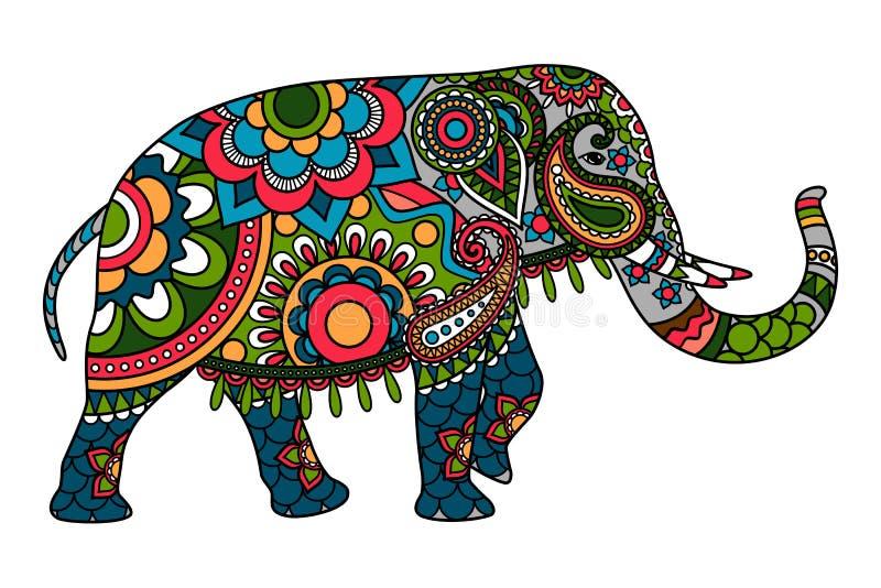 Покрашенный слон doodle индийский иллюстрация штока