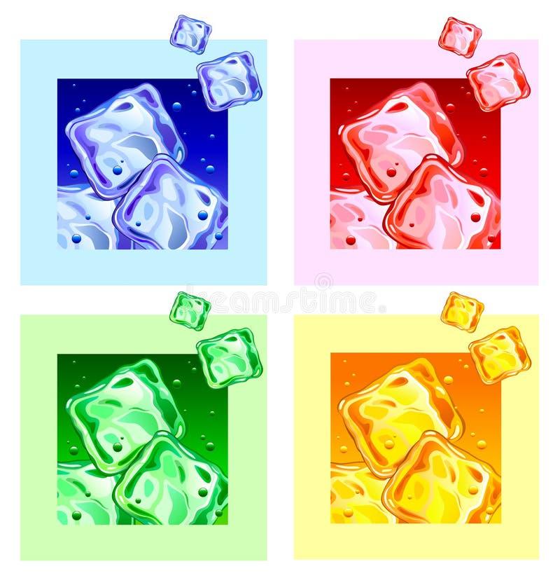 покрашенный тип льда кубиков свежий иллюстрация вектора