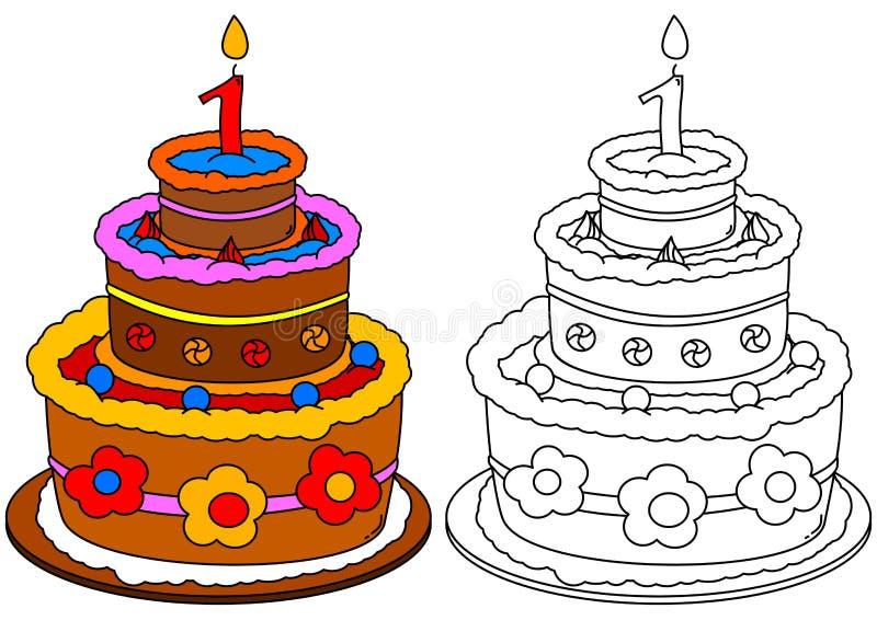 Покрашенный торт с свечой как расцветка для маленьких ребеят иллюстрация штока