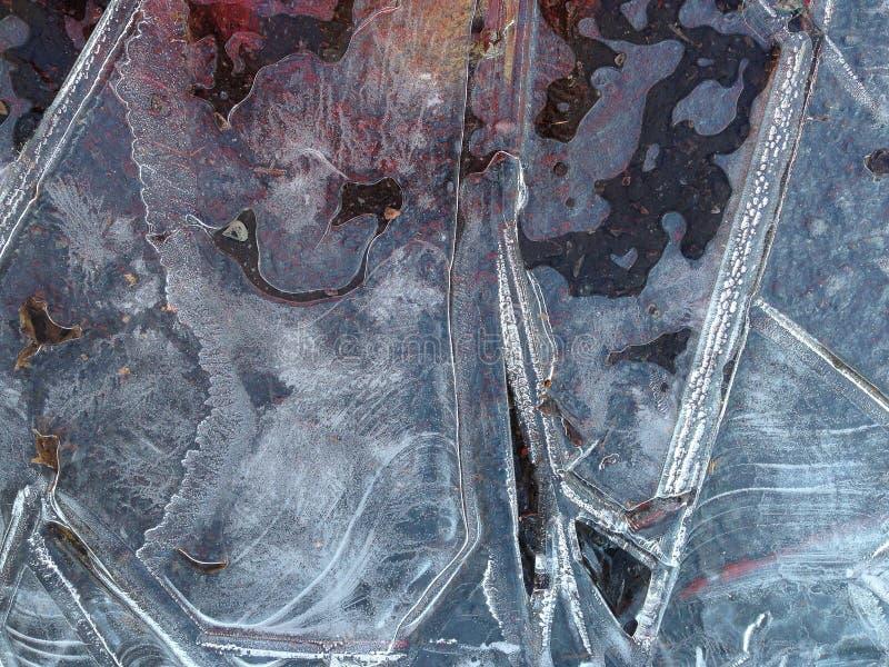 Покрашенный треснутый лед от замороженной лужицы стоковые изображения