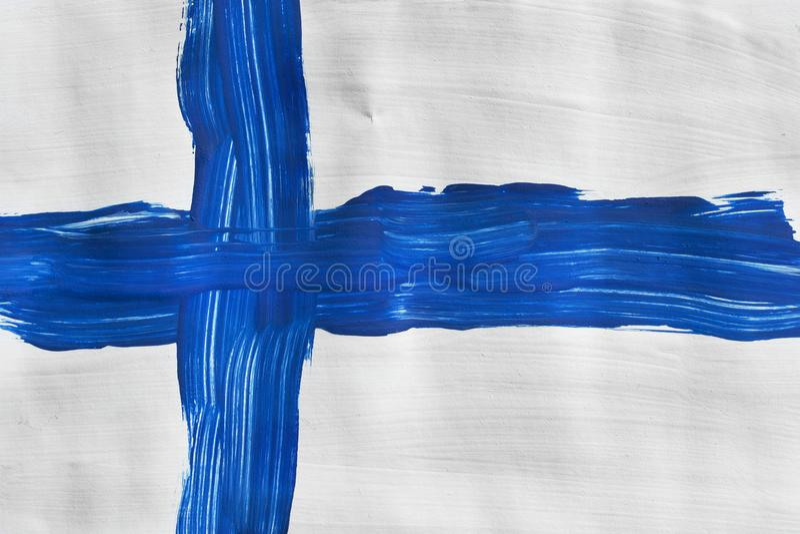 Покрашенный финский флаг стоковые фотографии rf