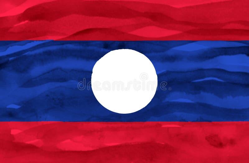 Покрашенный флаг Лаоса стоковое изображение