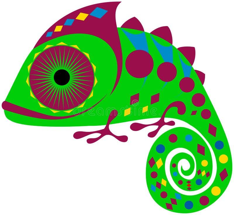 Покрашенный хамелеон с геометрическим орнаментом, вектором, EPS стоковая фотография