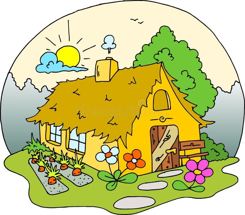 Покрашенный чертеж дома коттеджа - стоковое фото