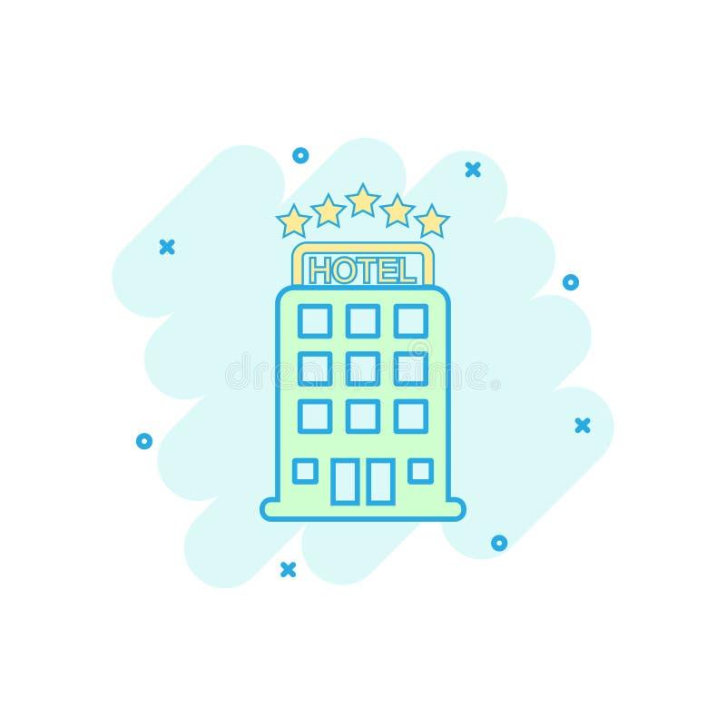 Покрашенный шаржем значок гостиницы в шуточном стиле Illustrati остатков мотеля иллюстрация штока
