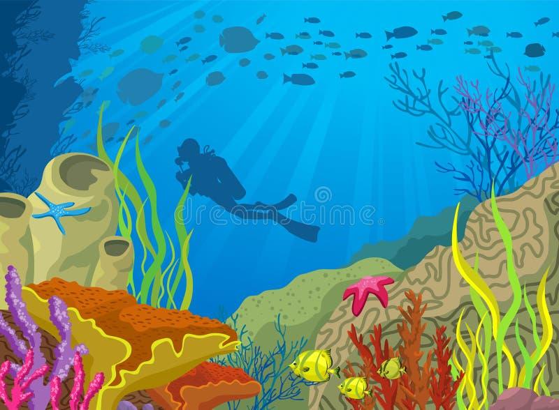 покрашенный шаржем риф водолаза коралла иллюстрация вектора