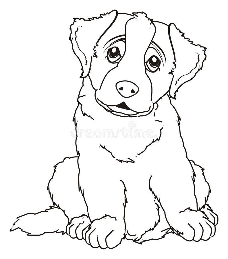 Покрашенный щенок сидит иллюстрация штока