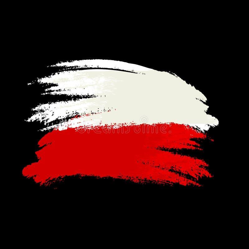 Покрашенный щеткой флаг Австрии Нарисованная рукой иллюстрация стиля с влиянием и акварелью grunge Флаг Австрии с текстурой grung иллюстрация вектора
