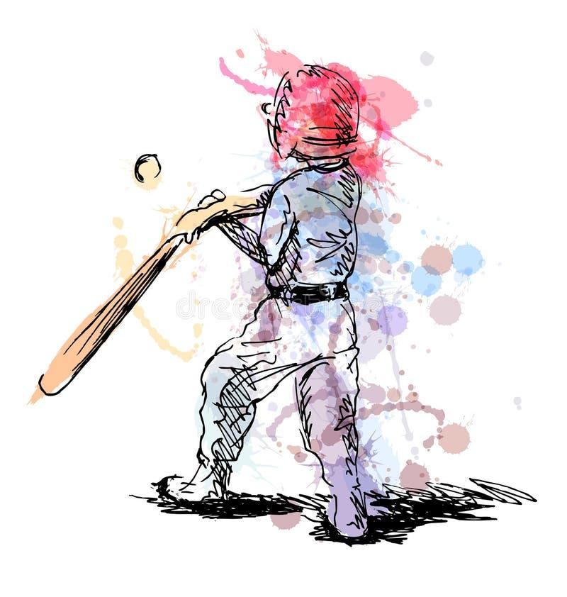 Покрашенный эскиз руки мальчика играя бейсбол иллюстрация штока