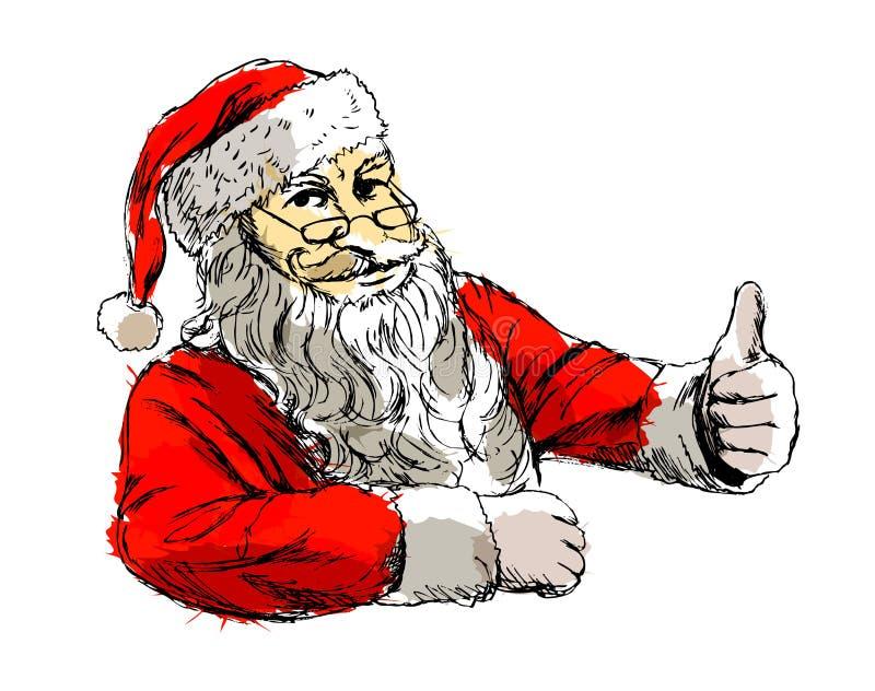 Покрашенный эскиз Санта Клаус руки иллюстрация штока