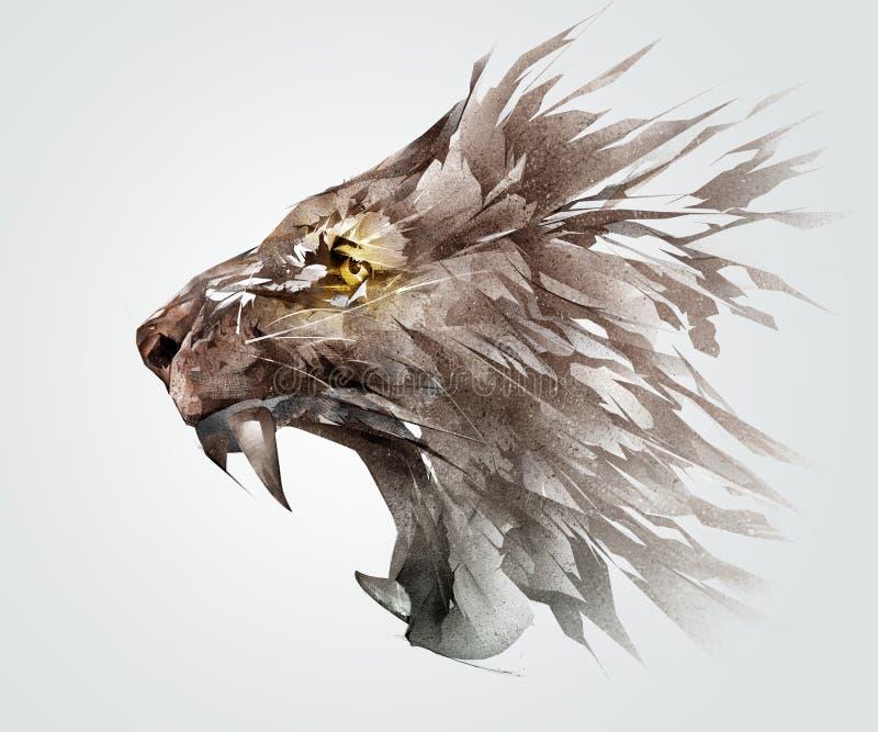 покрашенный эскиз grinning намордник льва животная сторона иллюстрация вектора