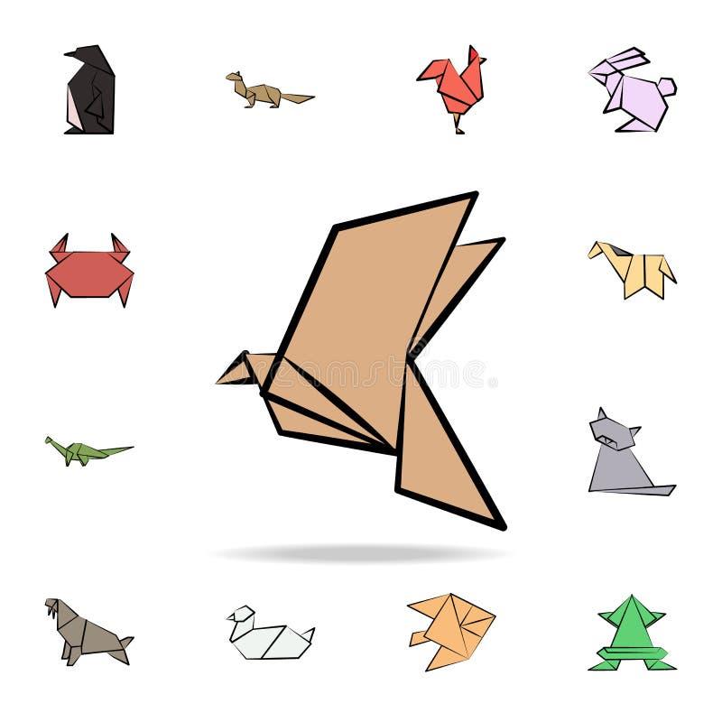 покрашенный ястребом значок origami Детальный набор животного origami в значках стиля руки вычерченных Наградной графический диза бесплатная иллюстрация