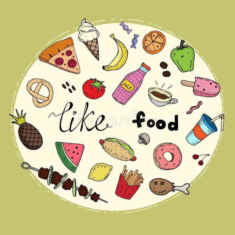 Покрашенный Doodle набор еды милого мультфильма doodle простой с надписью и декоративные элементы на нейтральной предпосылке illu иллюстрация вектора