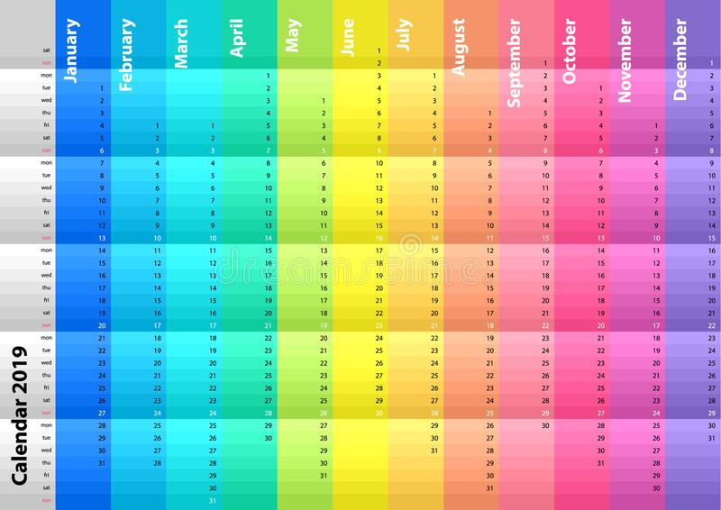 Покрашенный striped календарь на 2019 год Спектральные цвета Цветастый комплект вектора писание шаблона тетради пожара конструкци иллюстрация штока