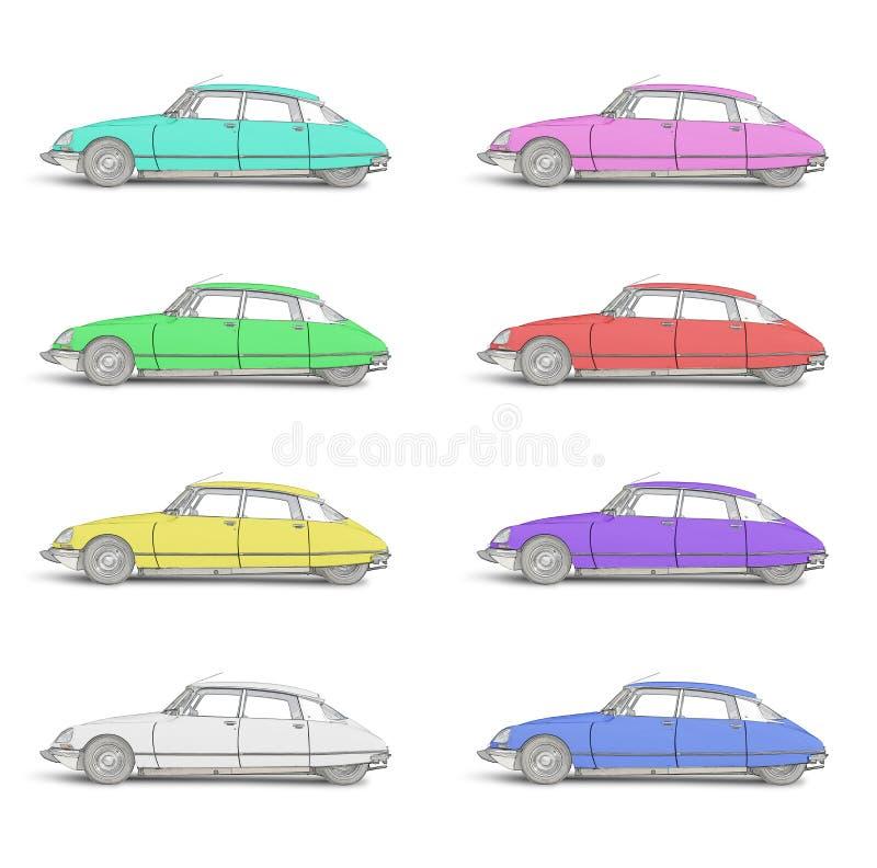 8 покрашенных эскизов модернизированного французского автомобиля 1968 стоковые фото