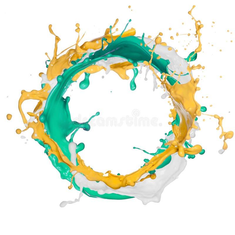 Покрашено брызгает в абстрактной форме стоковые изображения rf