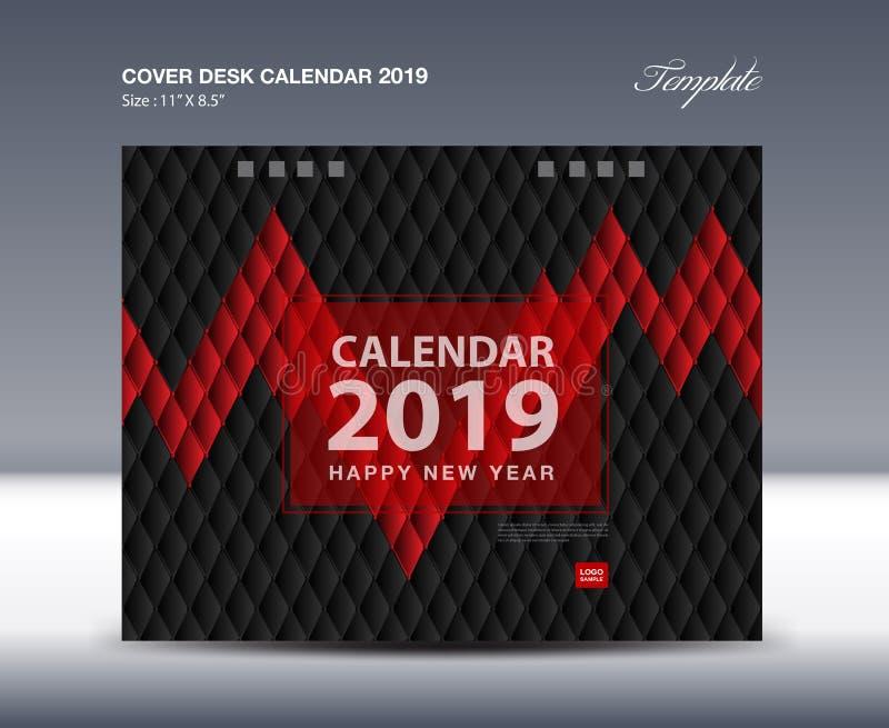 Покройте дизайн настольного календаря 2019, шаблон рогульки, объявления, буклет, каталог, информационый бюллетень, обложку книги иллюстрация штока