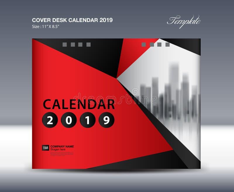 Покройте дизайн настольного календаря 2019, шаблон рогульки, объявления, буклет, каталог, информационый бюллетень, обложку книги бесплатная иллюстрация