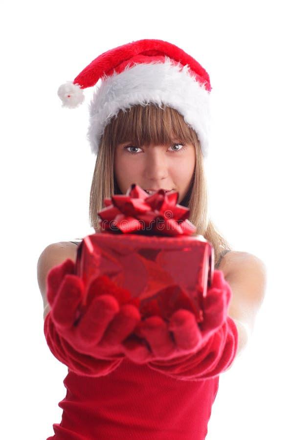 покройте женщину подарка рождества стоковые изображения