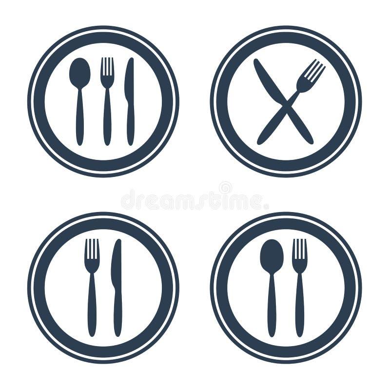 Покройте значки ложки и ножа вилки на белой предпосылке стоковое фото rf