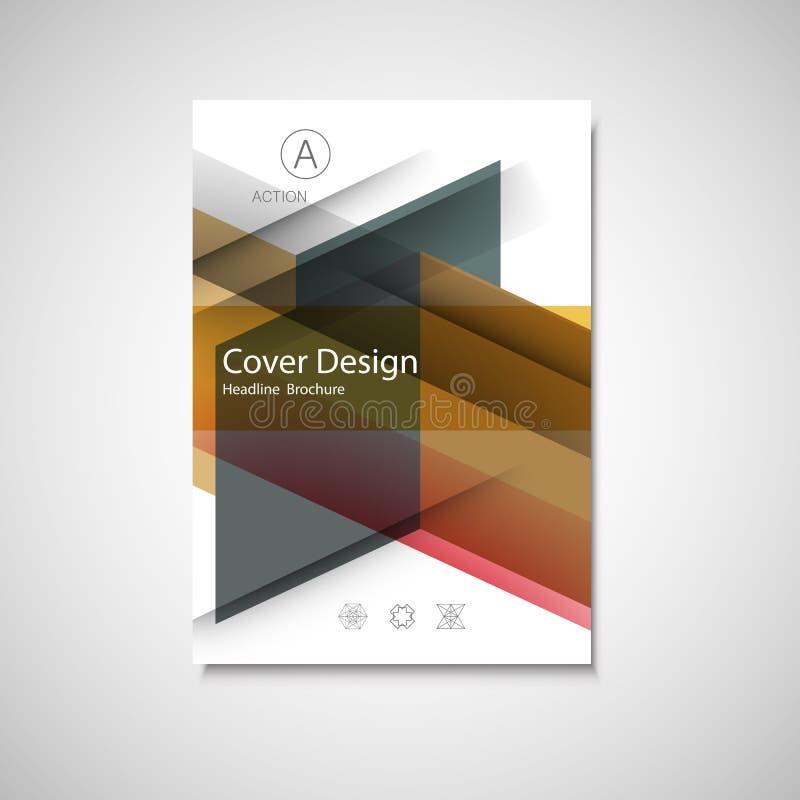 Покройте дизайн для годового отчета, каталога или кассеты, книги или брошюры Шаблон вектора с элементами геометрии иллюстрация штока