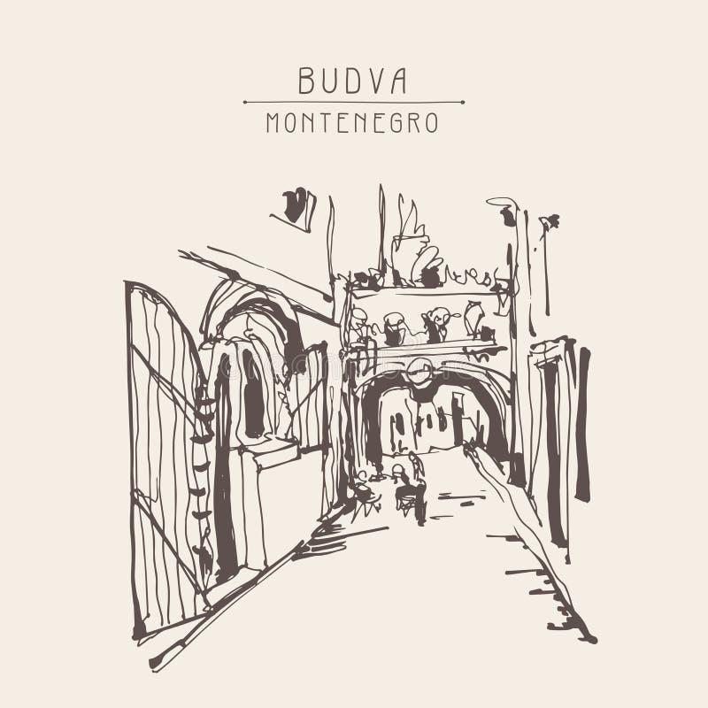 Покройте краской делать эскиз к исторической улицы мощенной булыжником узкой частью в Budva Montene иллюстрация штока