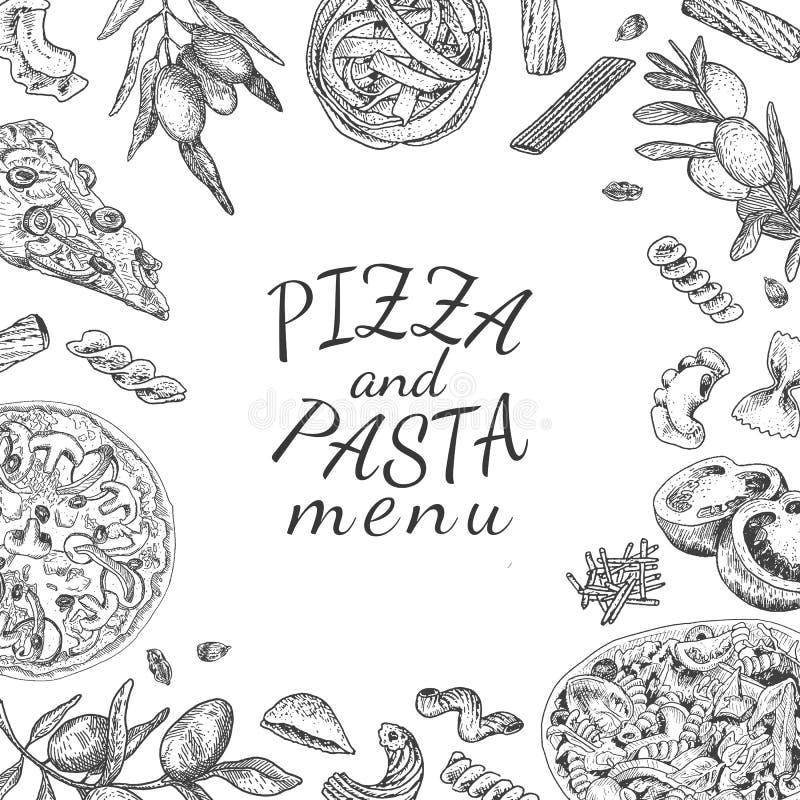 Покройте краской нарисованный рукой шаблон меню пиццы и макаронных изделий бесплатная иллюстрация