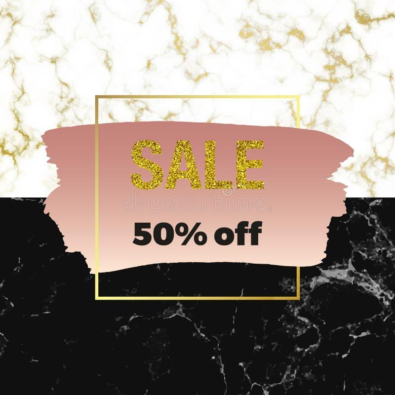 Покройте мрамор продажи плаката белый, черный или каменный ход текстуры и розовых чернил щетки, линию или текстуру Рамка золота и иллюстрация штока