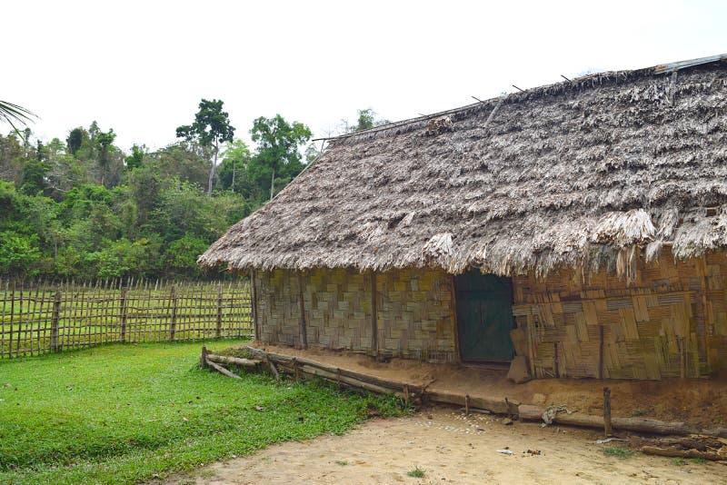 Покрыванные соломой племенные хижина, трава, загородка, и растительность на деревне, острове Baratang, Andaman Nicobar, Индии стоковая фотография rf