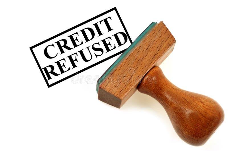 Покрывающ краской печать показывая кредит отказал иллюстрация штока