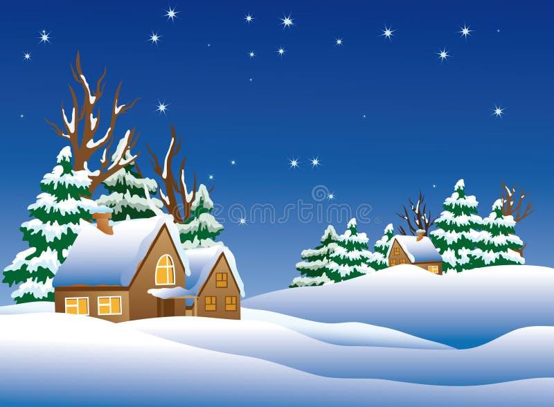 покрытое село снежка иллюстрация штока