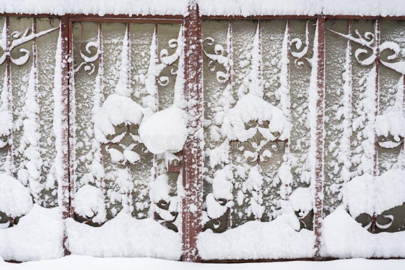 покрытые Снег железные стробы Стробы загородки зимы нанесённые стоковое фото