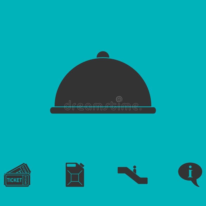 Покрытый значок еды плоско бесплатная иллюстрация