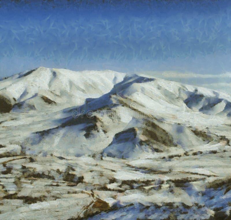 покрытый снежок горы иллюстрация штока
