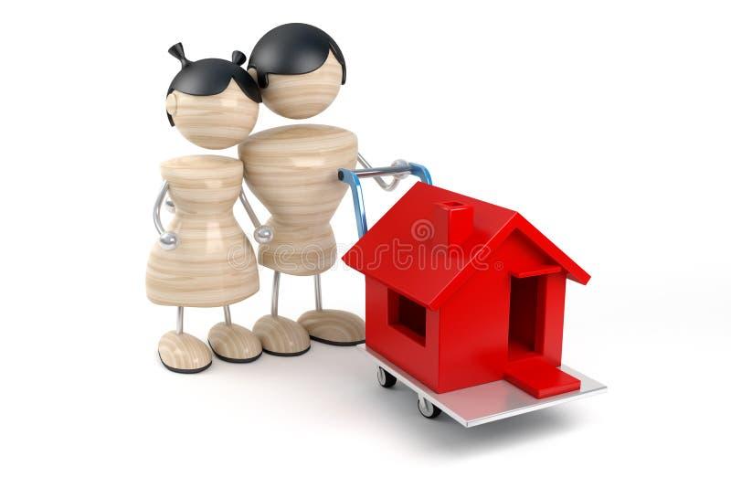 покупает дом семьи иллюстрация вектора