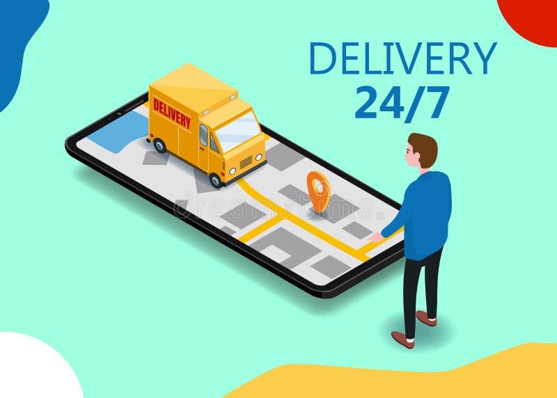 Покупатель смартфона доставки груза Isometry, фургон, тележка, маршрут навигации карты города, пункта доставки, вектора бесплатная иллюстрация