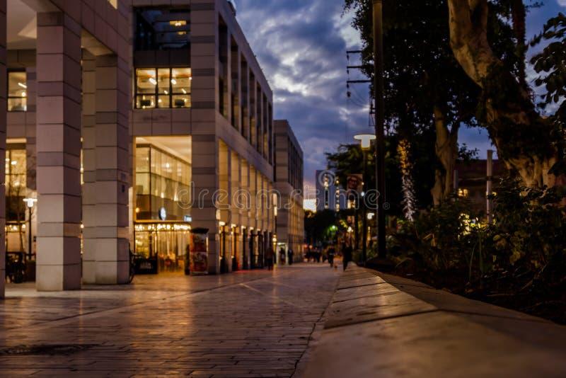 Покупатели идя на ночу - силуэты - Тель-Авив стоковые фото